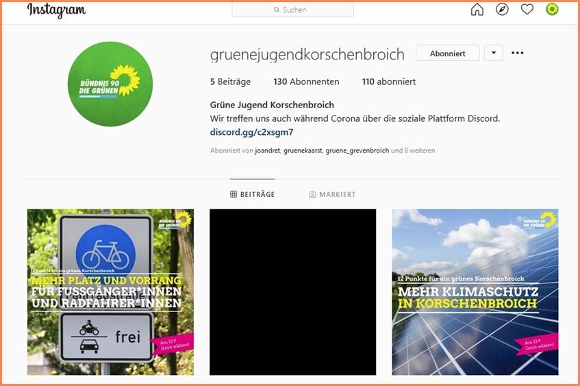 Grüne Jugend auf Instagram